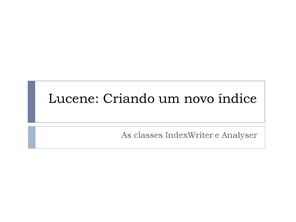 Lucene: Criando um novo índice