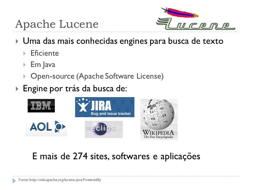 Apache Lucene E mais de 274 sites, softwares e aplicações