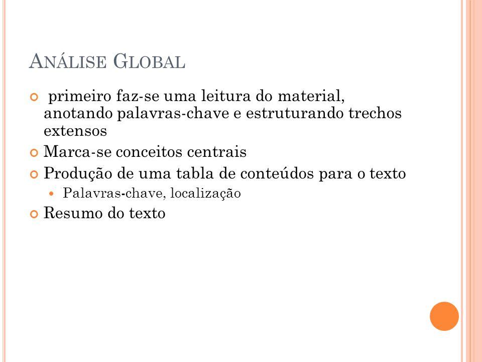 Análise Global primeiro faz-se uma leitura do material, anotando palavras-chave e estruturando trechos extensos.