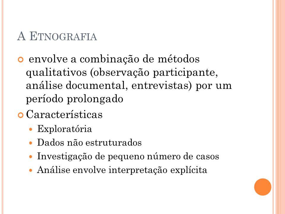 A Etnografia envolve a combinação de métodos qualitativos (observação participante, análise documental, entrevistas) por um período prolongado.