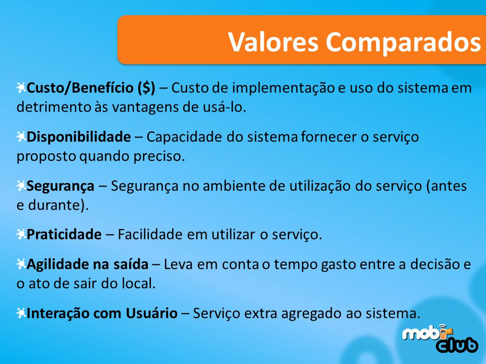 Valores Comparados Custo/Benefício ($) – Custo de implementação e uso do sistema em detrimento às vantagens de usá-lo.