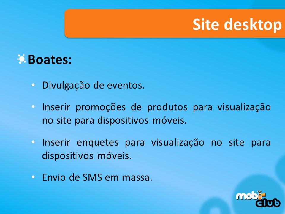 Site desktop Boates: Divulgação de eventos.