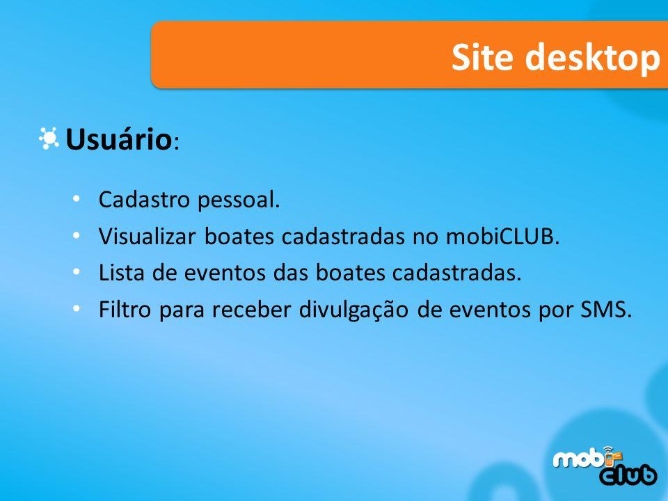 Site desktop Usuário: Cadastro pessoal.