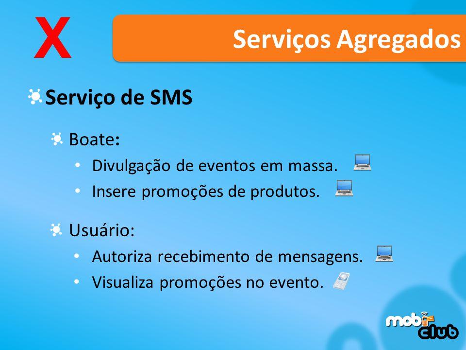 X Serviços Agregados Serviço de SMS Boate: Usuário: