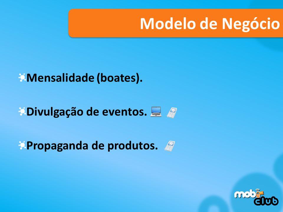 Modelo de Negócio Mensalidade (boates). Divulgação de eventos.