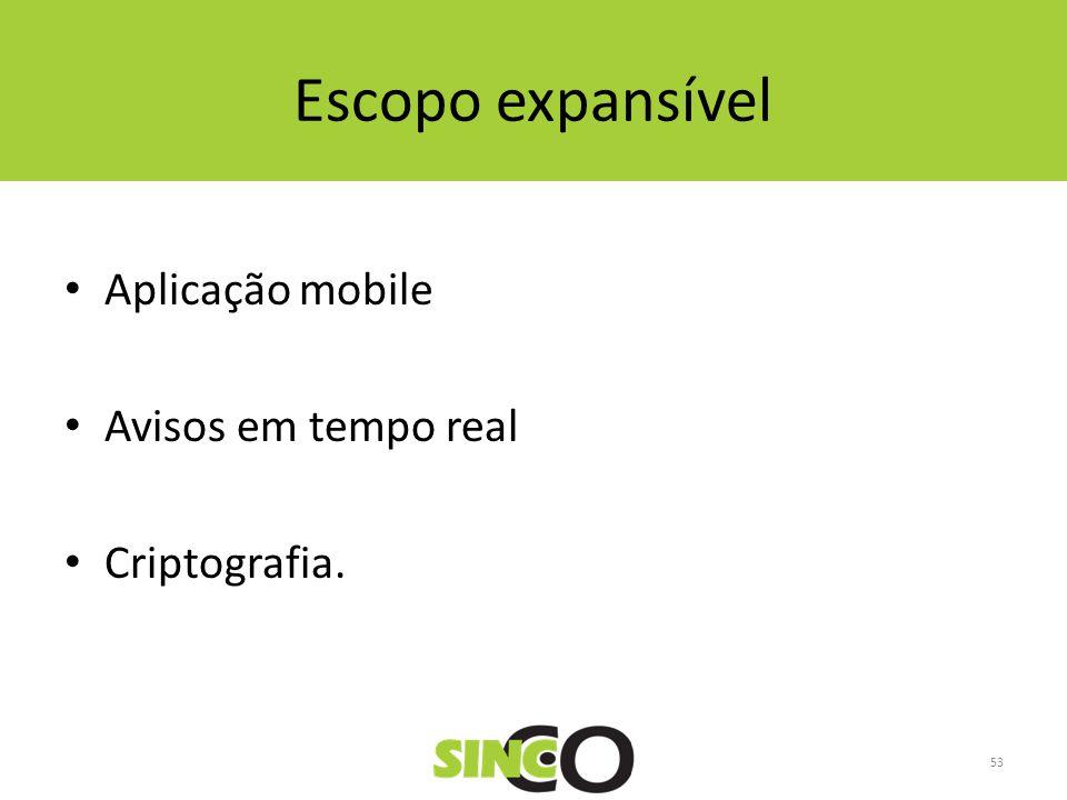 Escopo expansível Aplicação mobile Avisos em tempo real Criptografia.