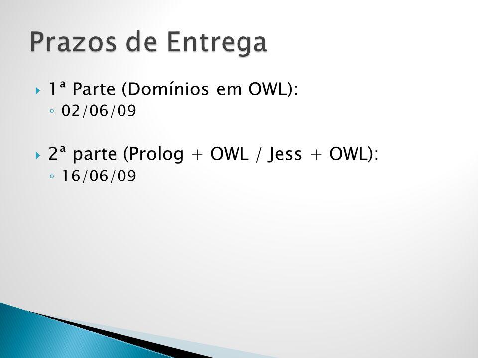 Prazos de Entrega 1ª Parte (Domínios em OWL):