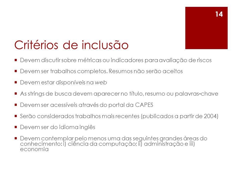 Critérios de inclusão Devem discutir sobre métricas ou indicadores para avaliação de riscos.