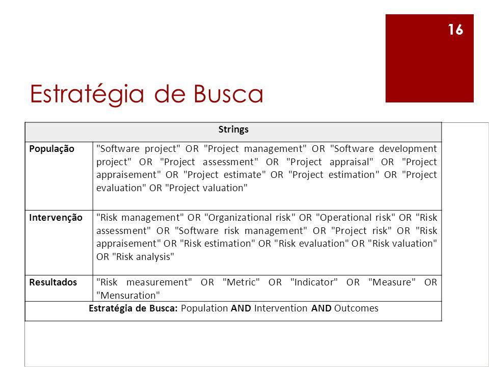 Estratégia de Busca: Population AND Intervention AND Outcomes