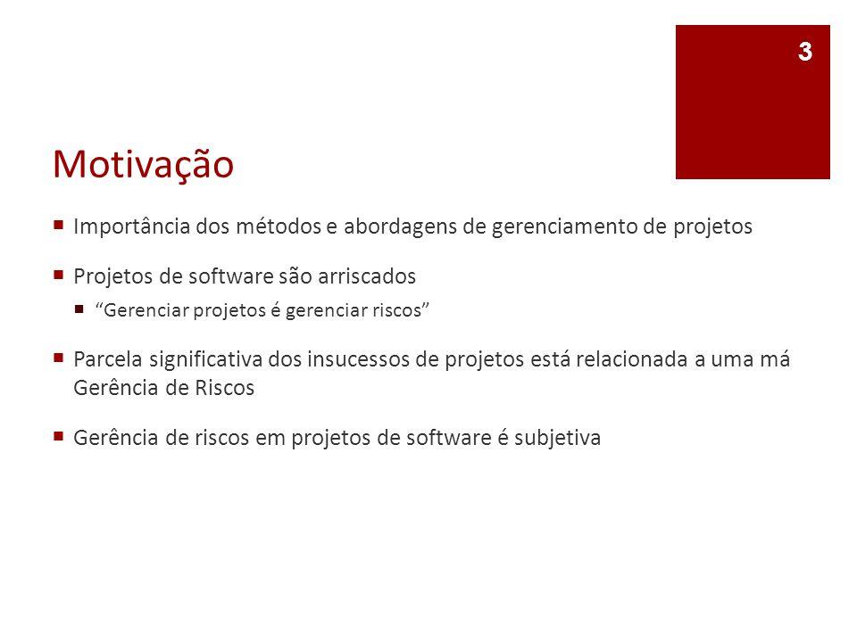 Motivação Importância dos métodos e abordagens de gerenciamento de projetos. Projetos de software são arriscados.