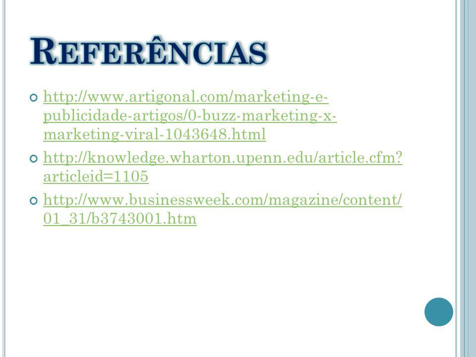 Referências http://www.artigonal.com/marketing-e- publicidade-artigos/0-buzz-marketing-x- marketing-viral-1043648.html.