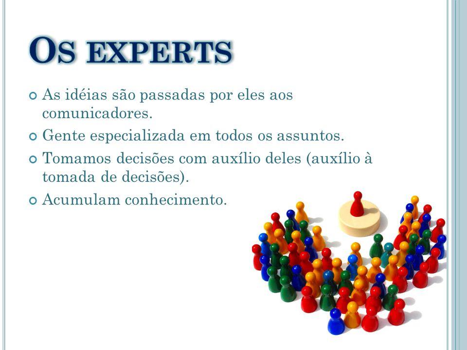 Os experts As idéias são passadas por eles aos comunicadores.