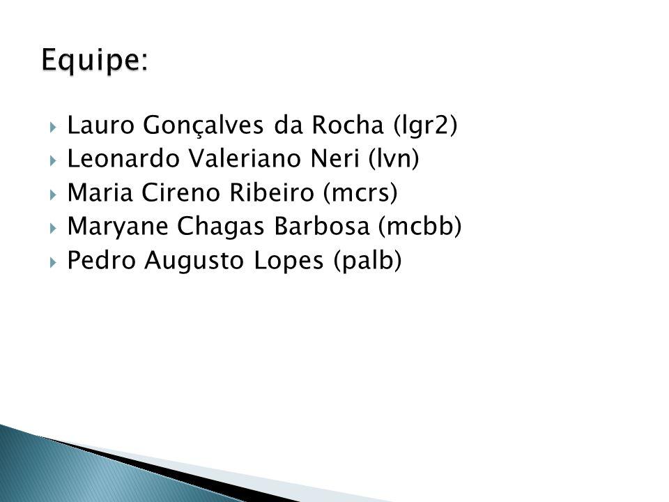 Equipe: Lauro Gonçalves da Rocha (lgr2) Leonardo Valeriano Neri (lvn)
