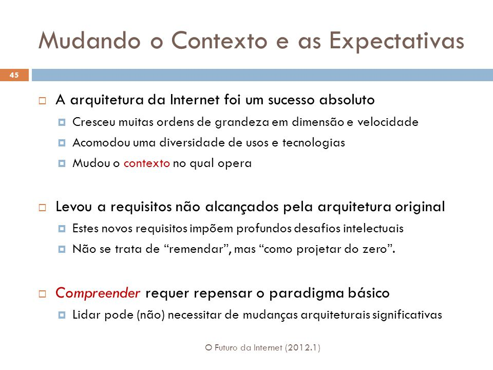 Mudando o Contexto e as Expectativas