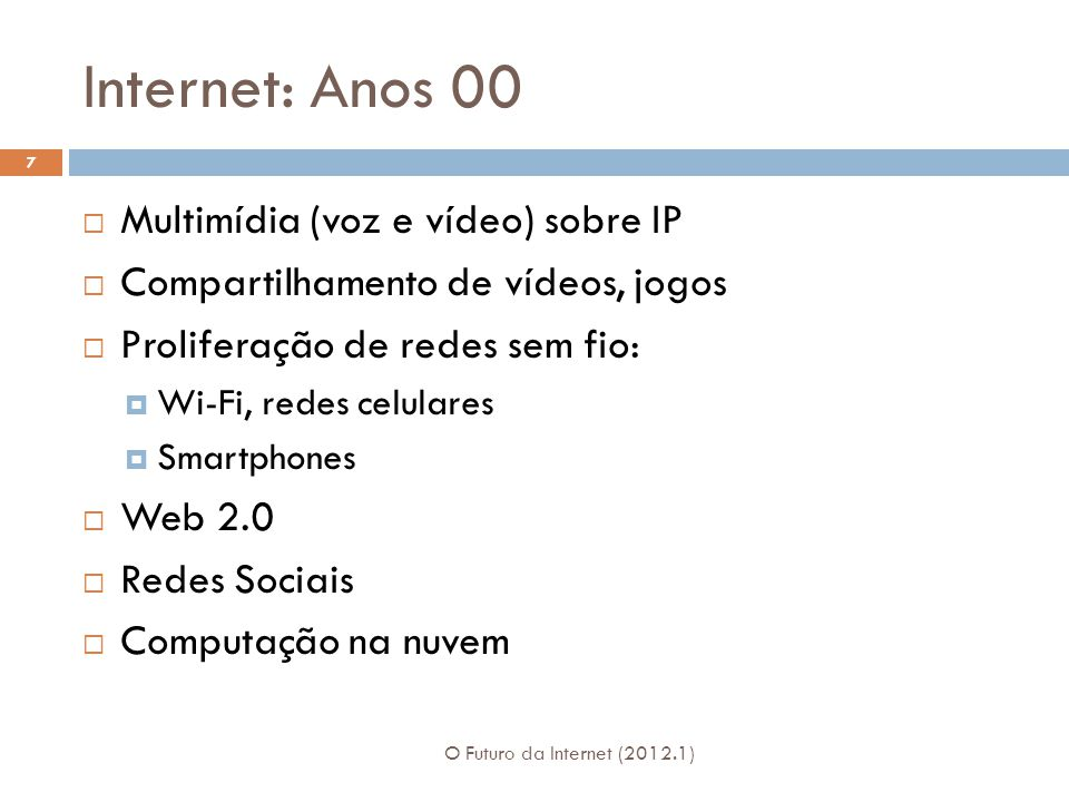 Internet: Anos 00 Multimídia (voz e vídeo) sobre IP