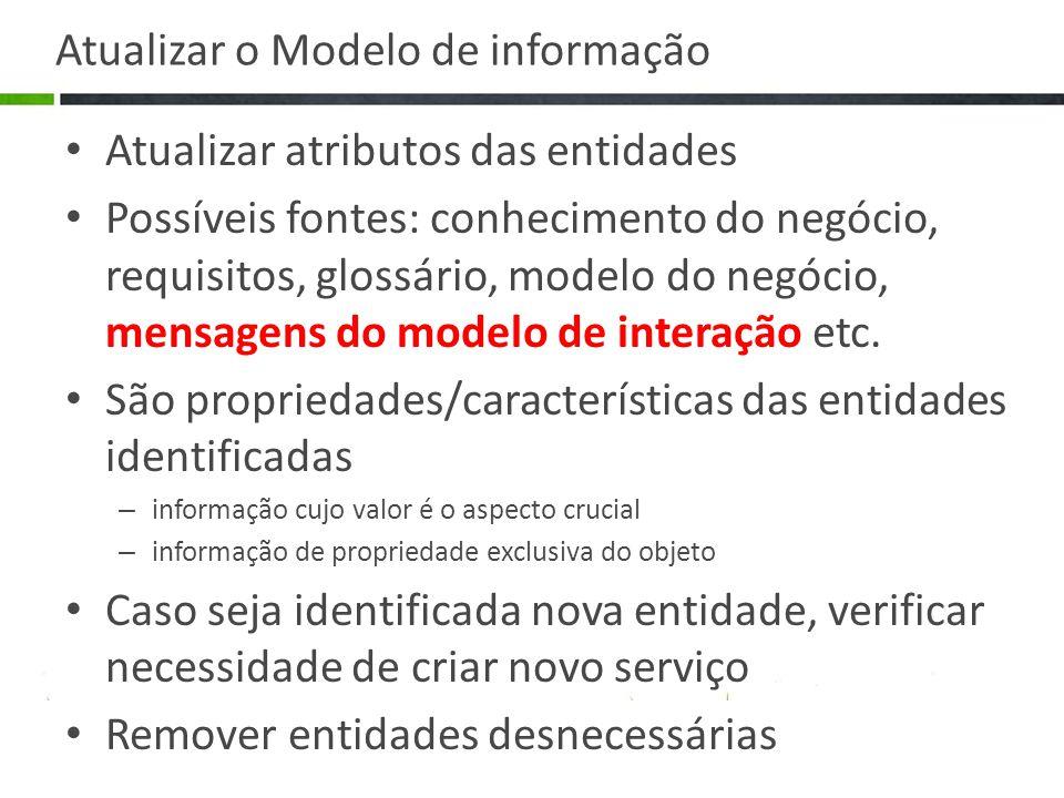 Atualizar o Modelo de informação