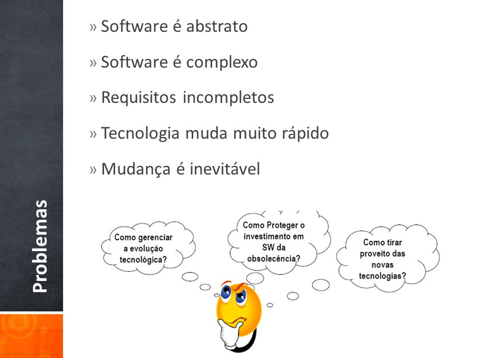 Problemas Software é abstrato Software é complexo
