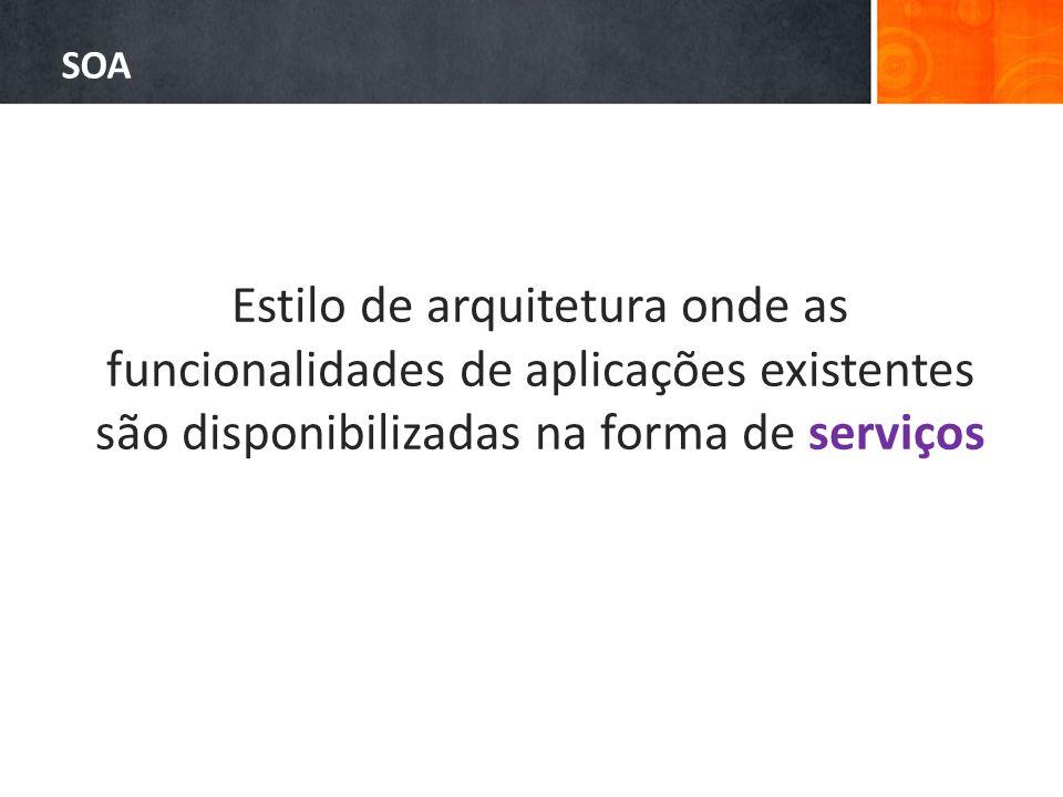 SOA Estilo de arquitetura onde as funcionalidades de aplicações existentes são disponibilizadas na forma de serviços.