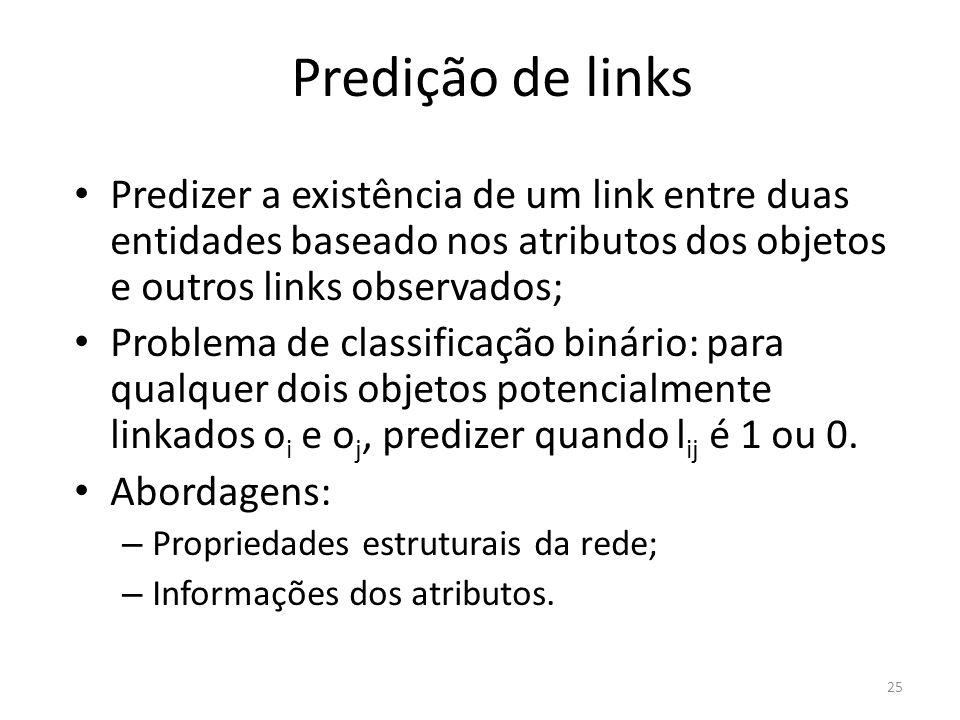 Predição de links Predizer a existência de um link entre duas entidades baseado nos atributos dos objetos e outros links observados;