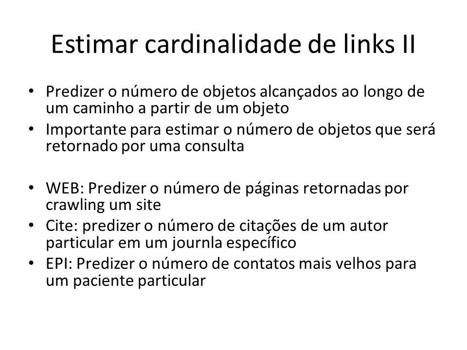 Estimar cardinalidade de links II