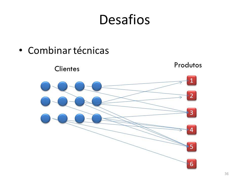 Desafios Combinar técnicas Produtos Clientes 1 2 3 4 5 6