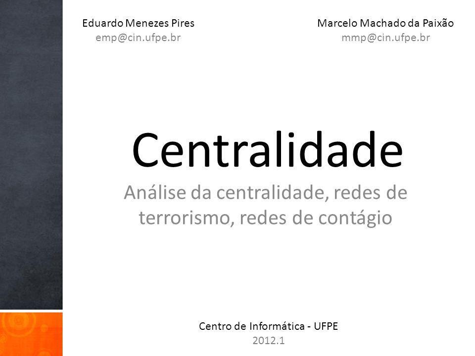 Análise da centralidade, redes de terrorismo, redes de contágio