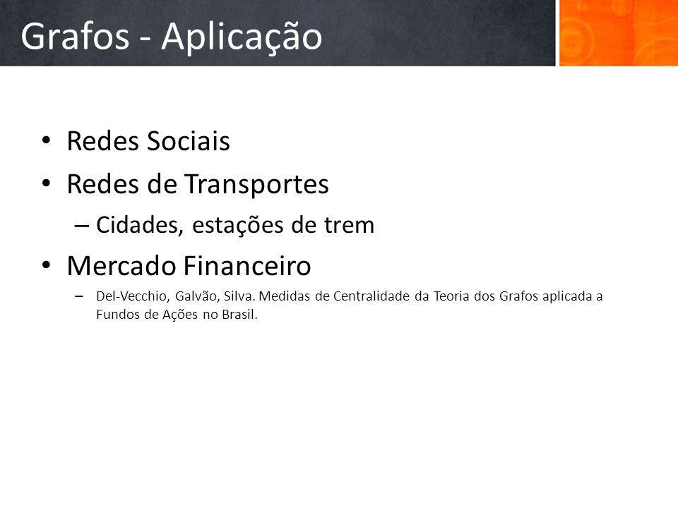 Grafos - Aplicação Redes Sociais Redes de Transportes
