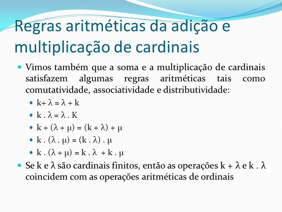Regras aritméticas da adição e multiplicação de cardinais