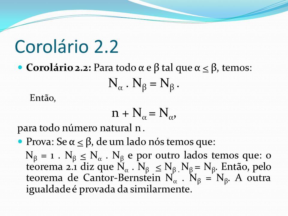 Corolário 2.2 Nα . Nβ = Nβ . n + Nα = Nα,