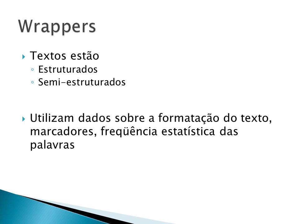 Wrappers Textos estão. Estruturados. Semi-estruturados.