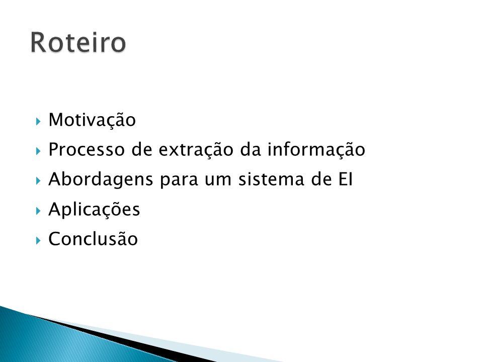 Roteiro Motivação Processo de extração da informação