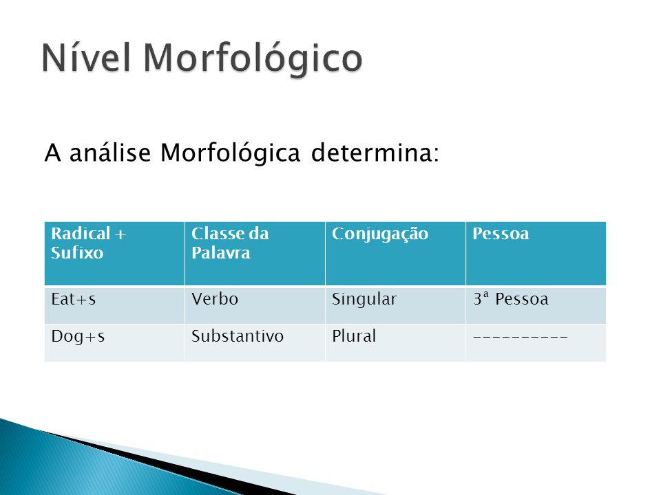 Nível Morfológico A análise Morfológica determina: Radical + Sufixo