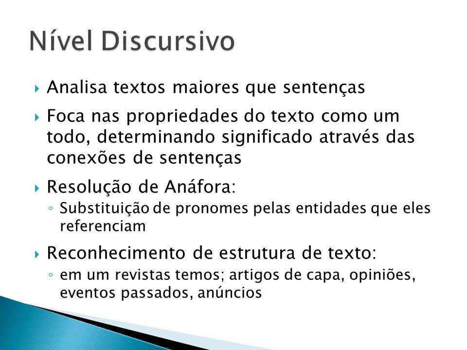 Nível Discursivo Analisa textos maiores que sentenças