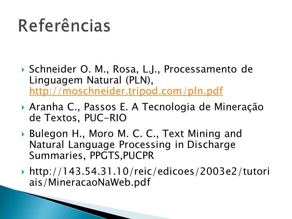 Referências Schneider O. M., Rosa, L.J., Processamento de Linguagem Natural (PLN), http://moschneider.tripod.com/pln.pdf.