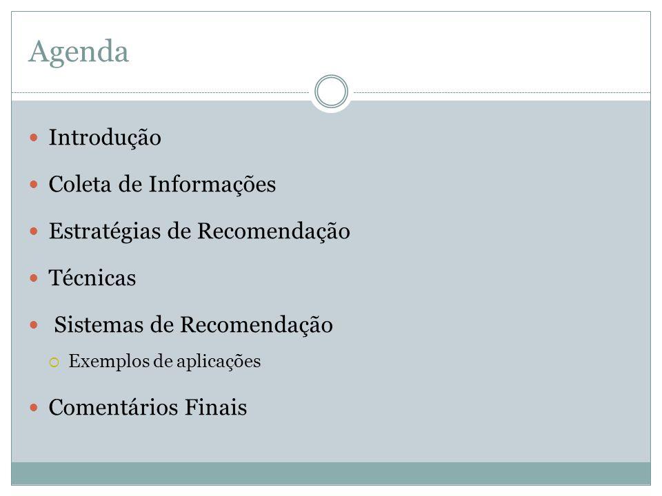 Agenda Introdução Coleta de Informações Estratégias de Recomendação