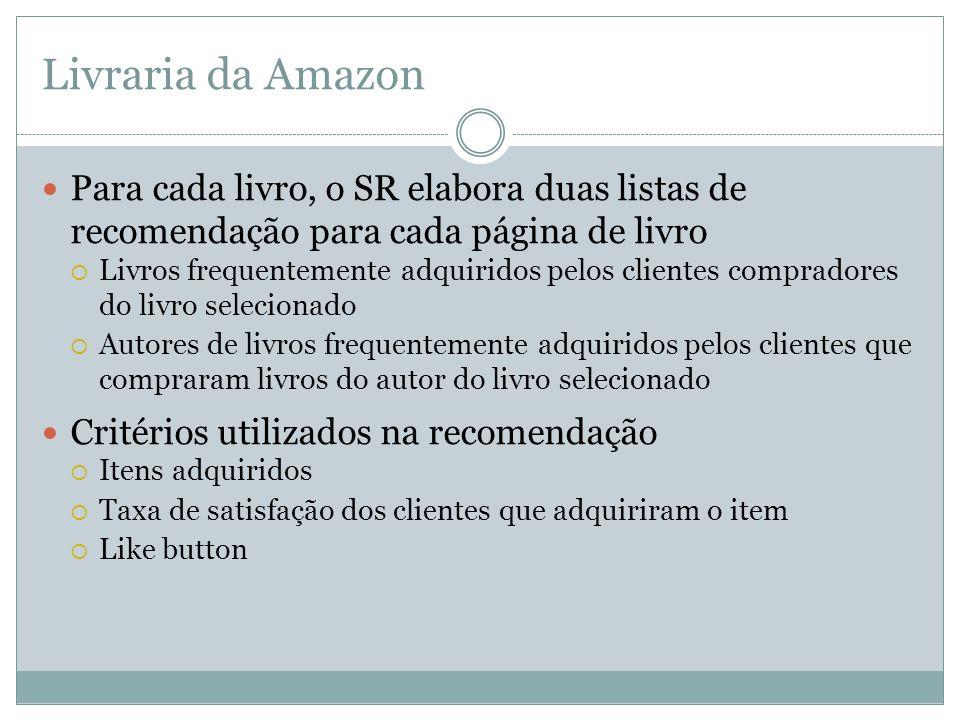 Livraria da Amazon Para cada livro, o SR elabora duas listas de recomendação para cada página de livro.
