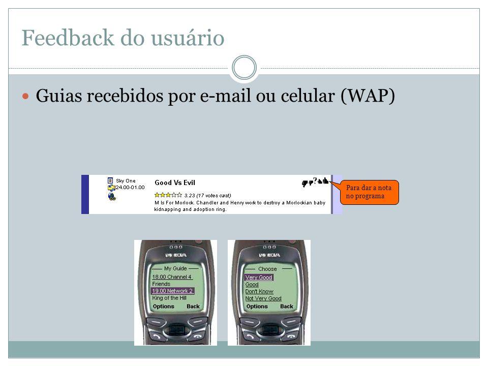 Feedback do usuário Guias recebidos por e-mail ou celular (WAP)