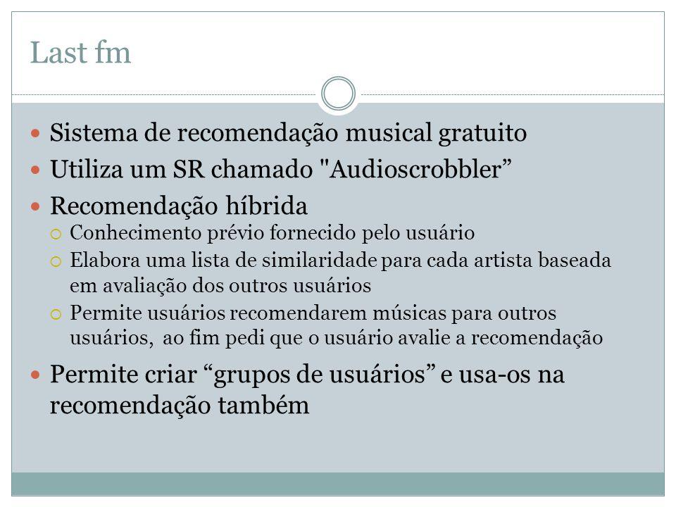 Last fm Sistema de recomendação musical gratuito