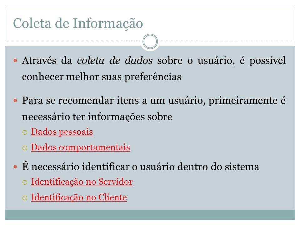 Coleta de Informação Através da coleta de dados sobre o usuário, é possível conhecer melhor suas preferências.
