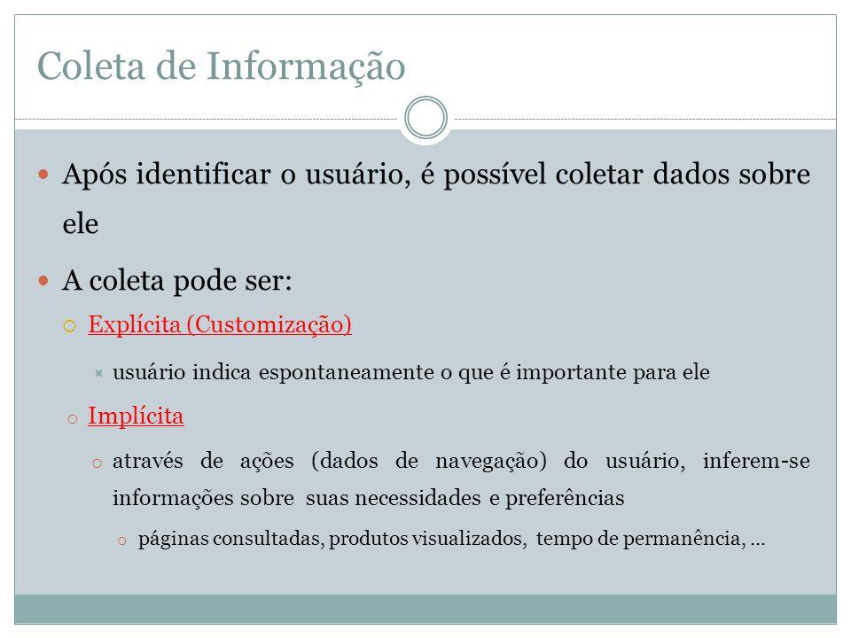 Coleta de Informação Após identificar o usuário, é possível coletar dados sobre ele. A coleta pode ser: