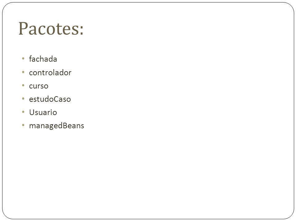 Pacotes: fachada controlador curso estudoCaso Usuario managedBeans