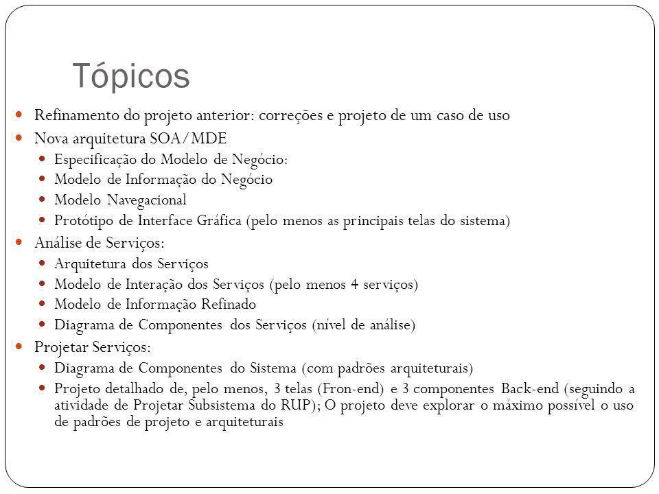 Tópicos Refinamento do projeto anterior: correções e projeto de um caso de uso. Nova arquitetura SOA/MDE.