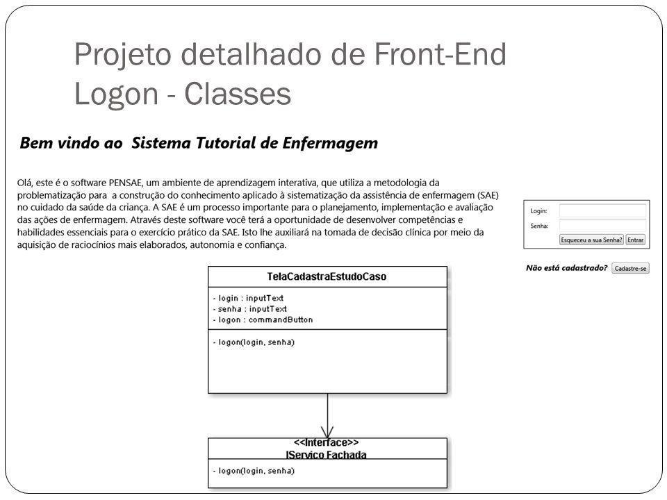 Projeto detalhado de Front-End Logon - Classes
