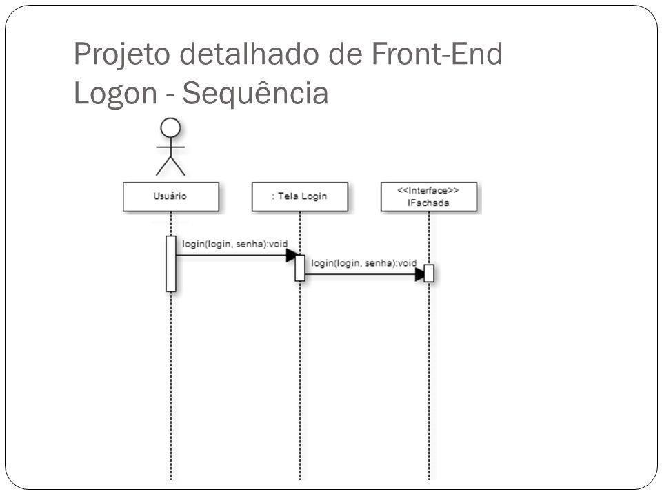 Projeto detalhado de Front-End Logon - Sequência