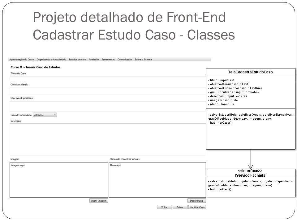 Projeto detalhado de Front-End Cadastrar Estudo Caso - Classes