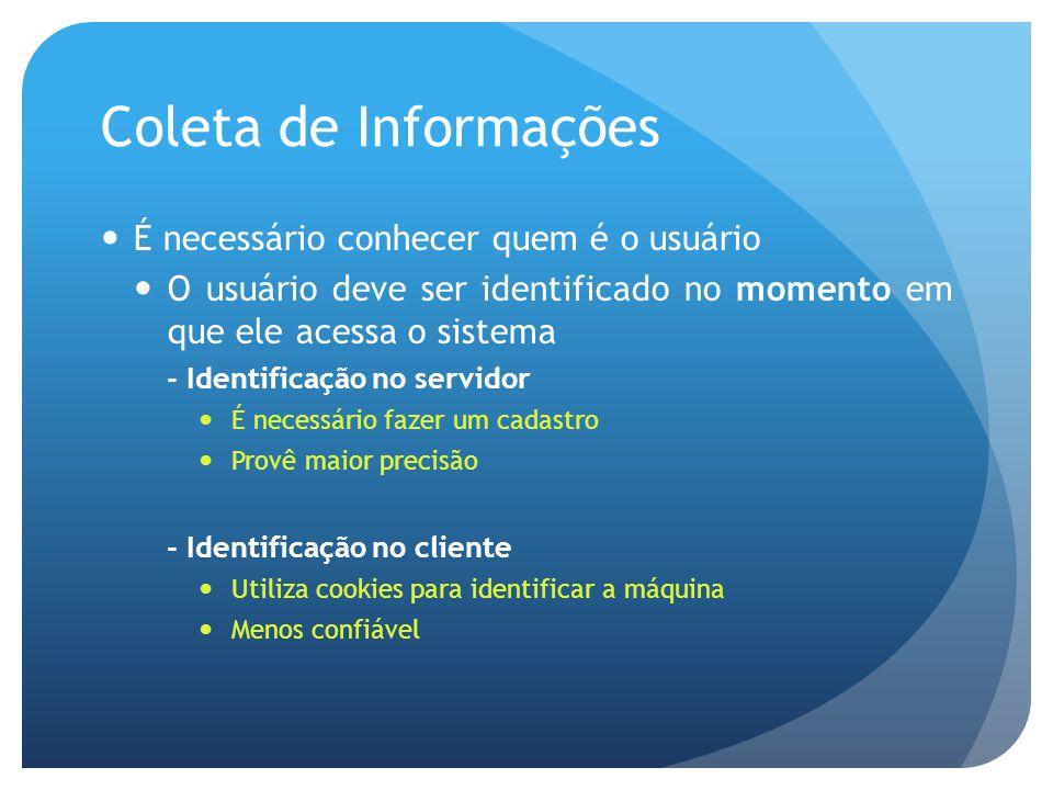 Coleta de Informações É necessário conhecer quem é o usuário