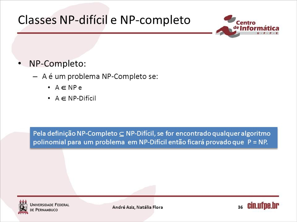 Classes NP-difícil e NP-completo