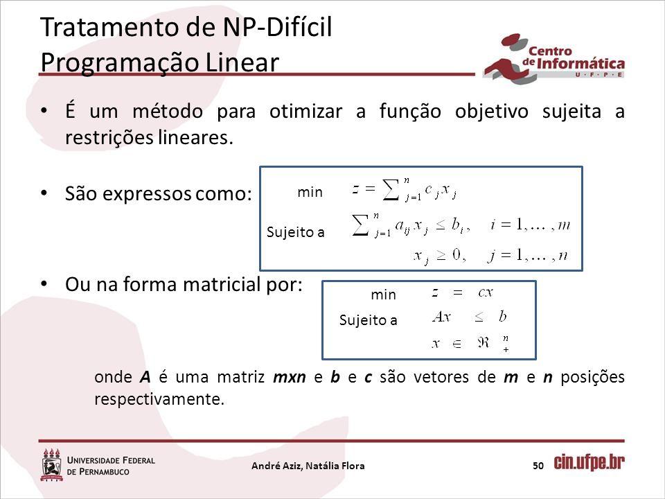 Tratamento de NP-Difícil Programação Linear