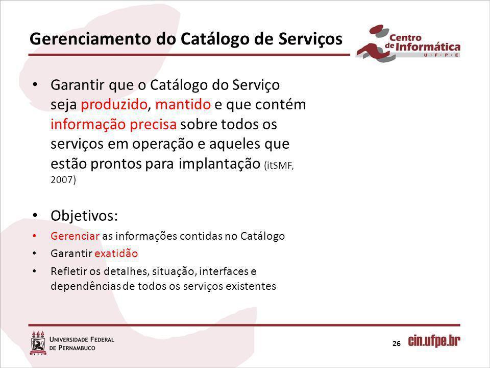 Gerenciamento do Catálogo de Serviços