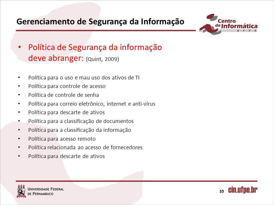 Gerenciamento de Segurança da Informação